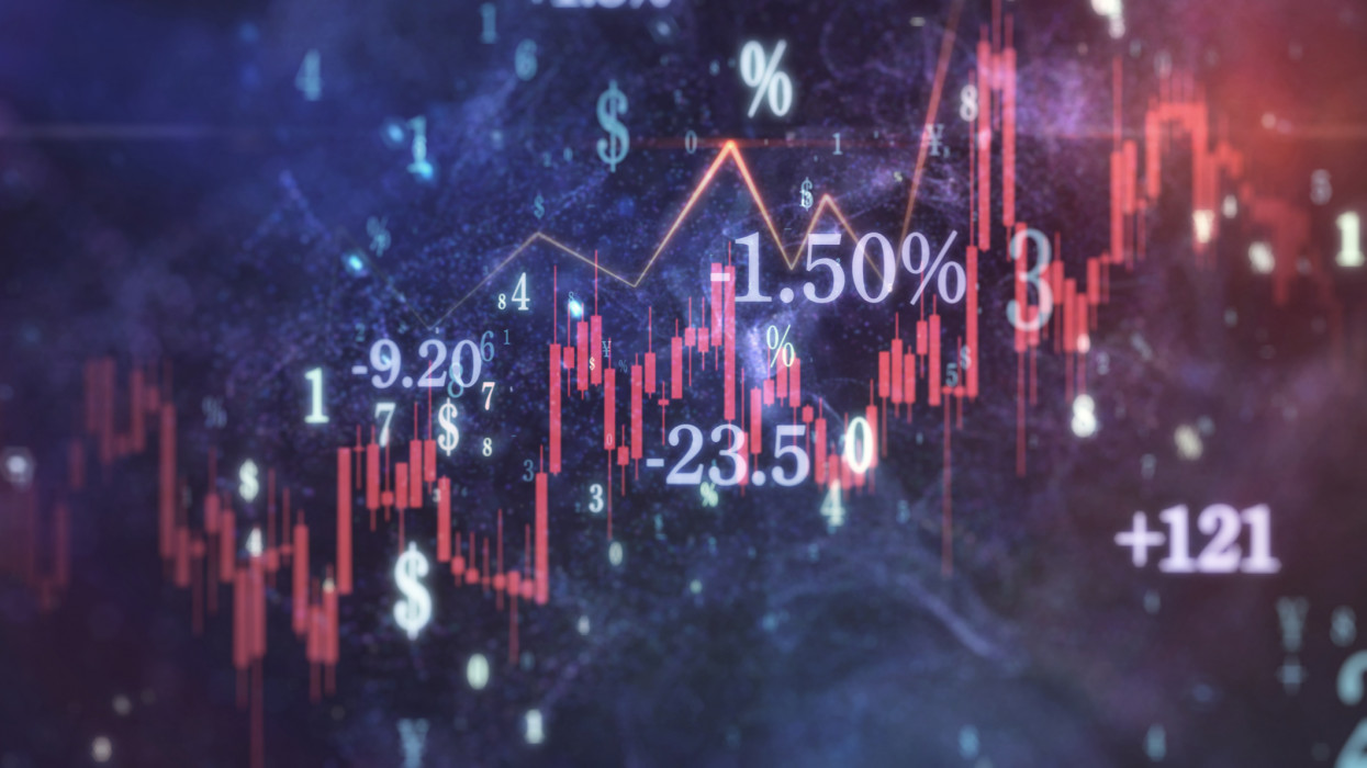 Global financial crisis with stock chart, numbers, and currency symbols.