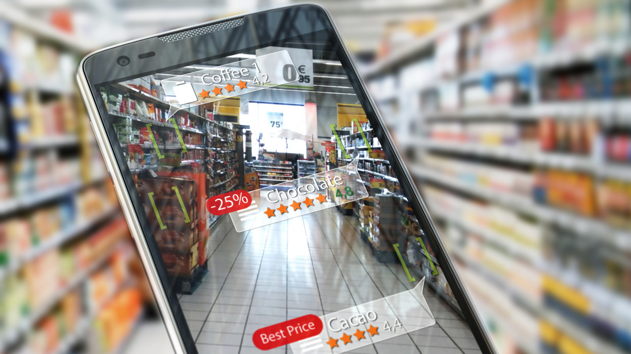 Augmented reality marketing application concept.  Mobile smart phone check relevant information about product in the supermarket. 3d illustrationAll textures were created me in Adobe illustrator. Photo was created by Canon 60D.