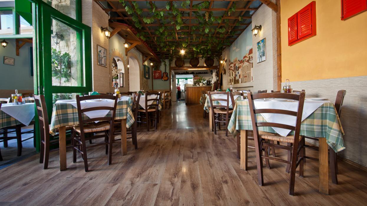Interior of traditional Greek restaurant in Heraklion, Crete, Greece.