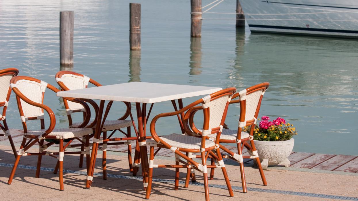 bar chairs in Balatonfured harbor
