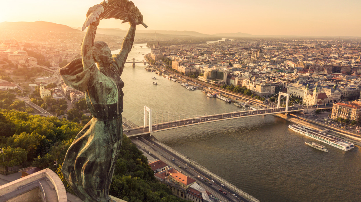 Budapest cityscape and Liberty Statue.