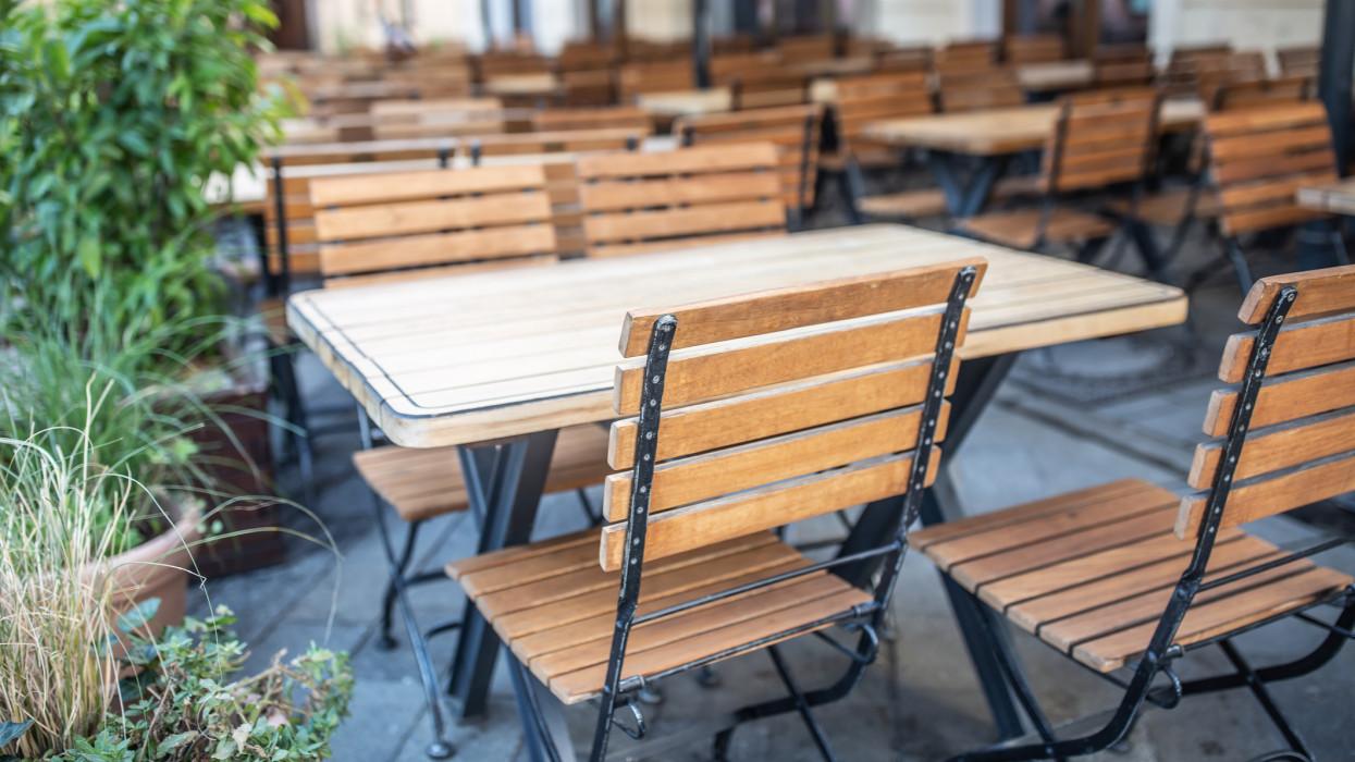 Empty restaurant terrace during quarantine against coronavirus - Covid-19.