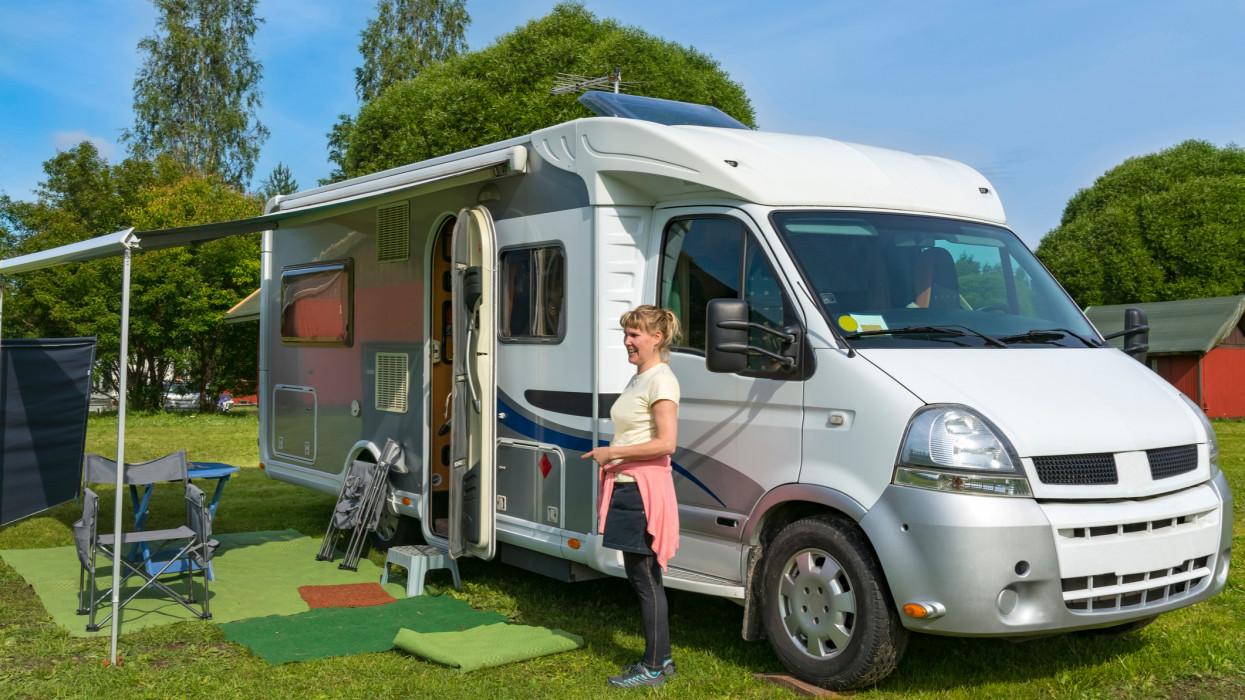 Camping car and woman