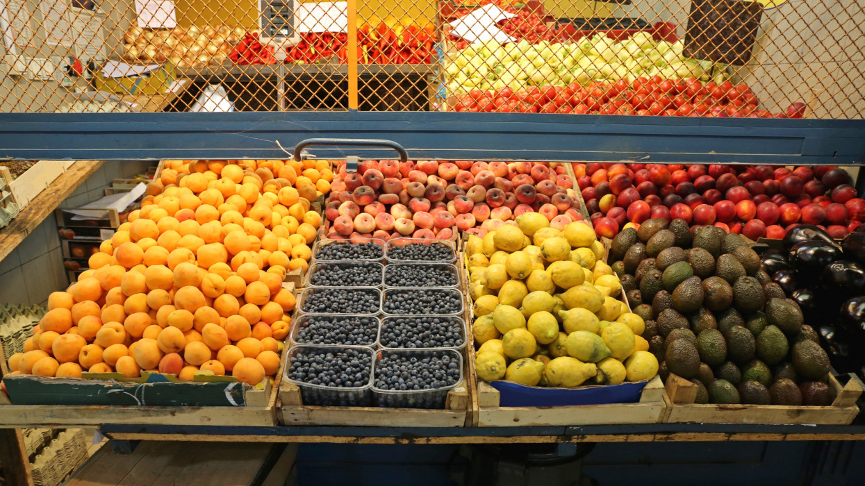 Big Bunch of Fruits in Crates at Farmers Market