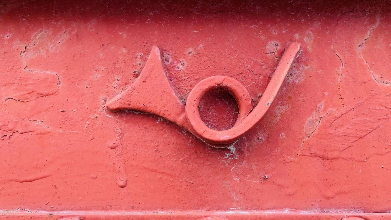 Vintage red postal sign Hungary