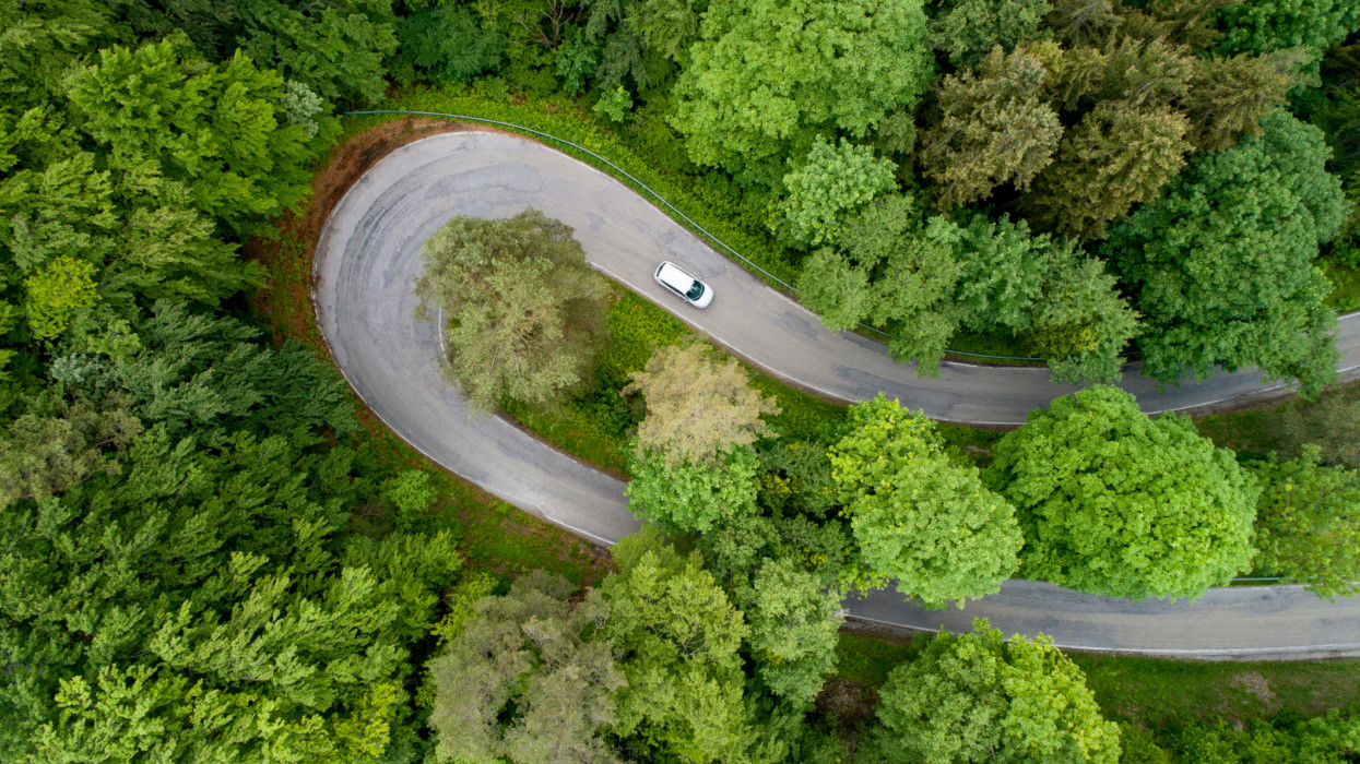 Hairpin curve , looking straight down