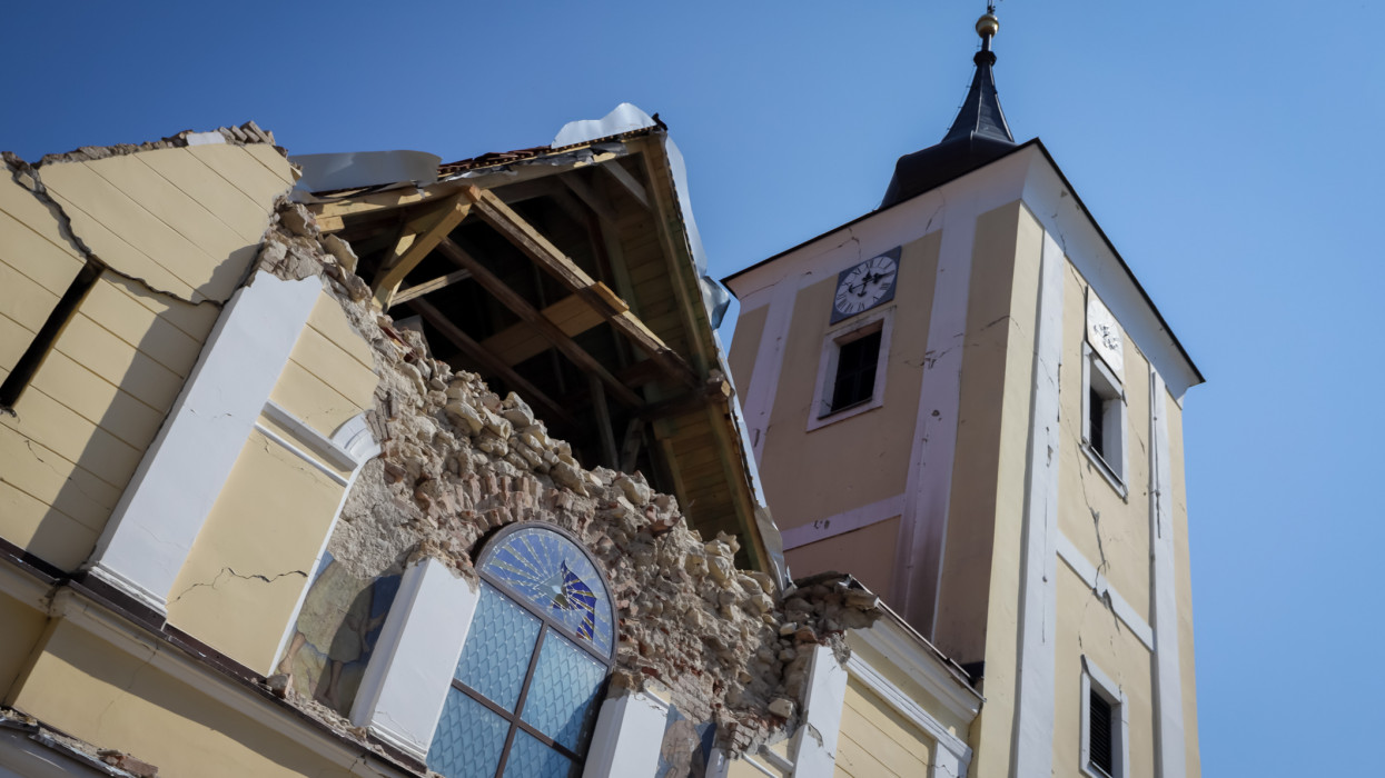 Church of the Visitation of the Blessed Virgin Mary destroyed after strong earthquake that happened 22 of March 20202 in Cucerje, Zagreb. Front part of the church have collapsed.