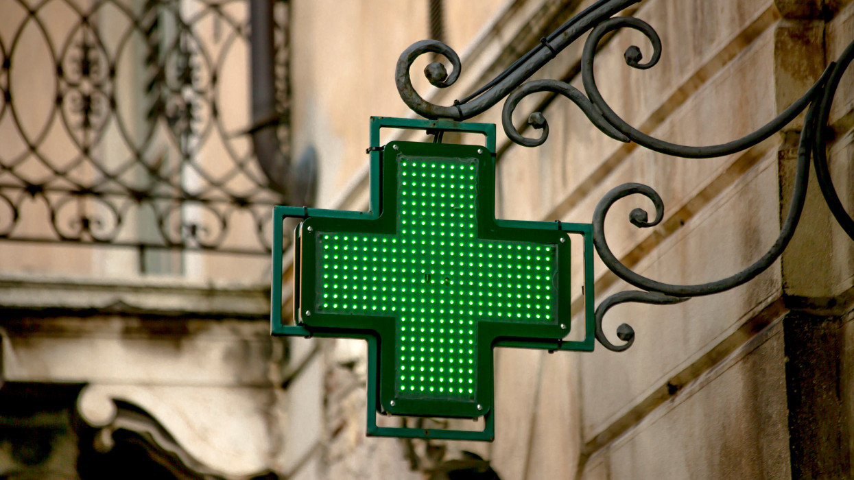 A pharmacy sign in the city of Verona, Italy