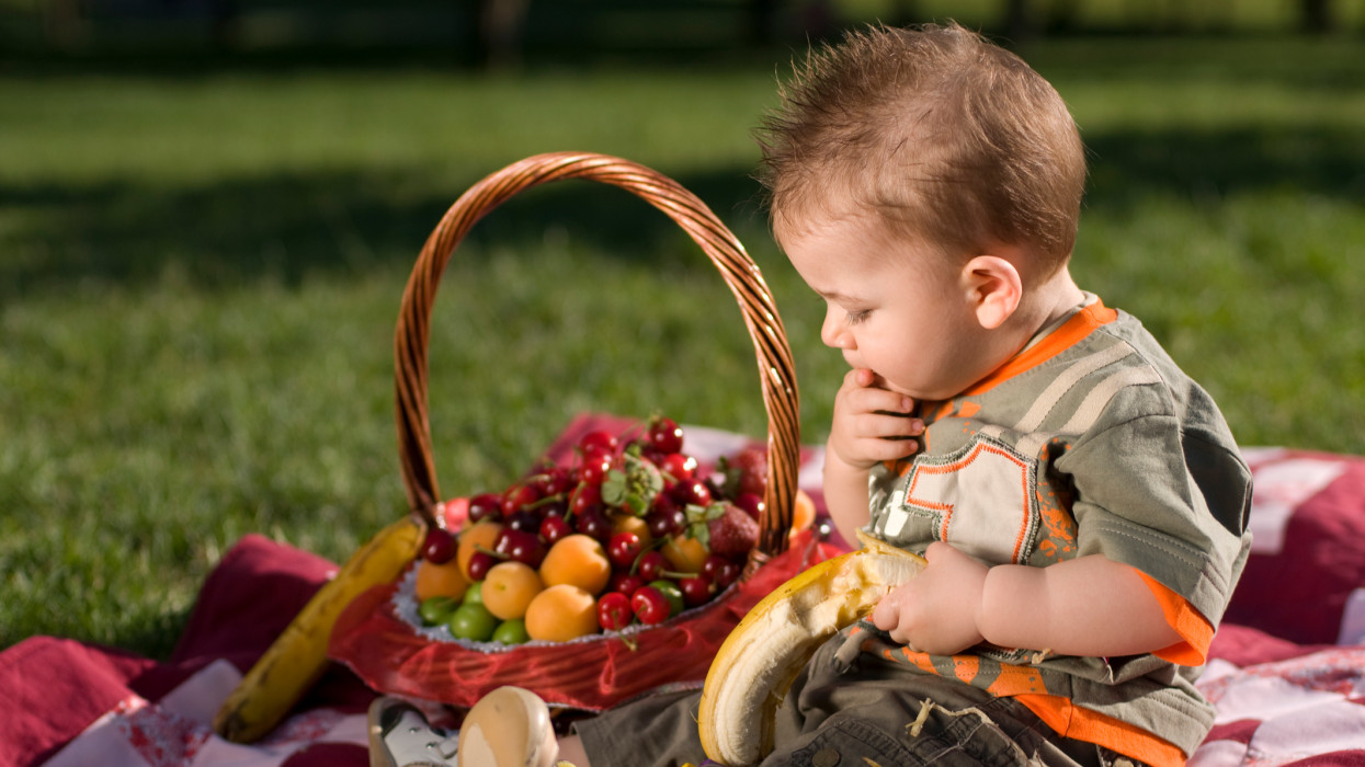Baby is eating fruit.