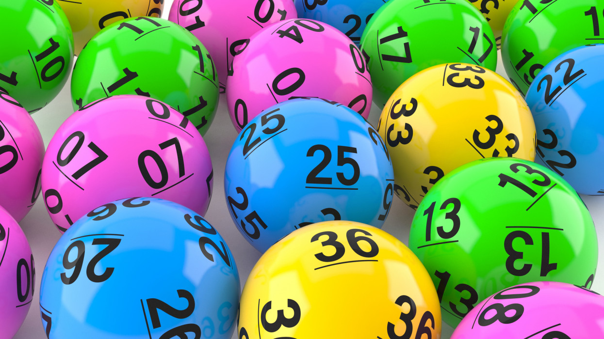 Lottery balls on white background