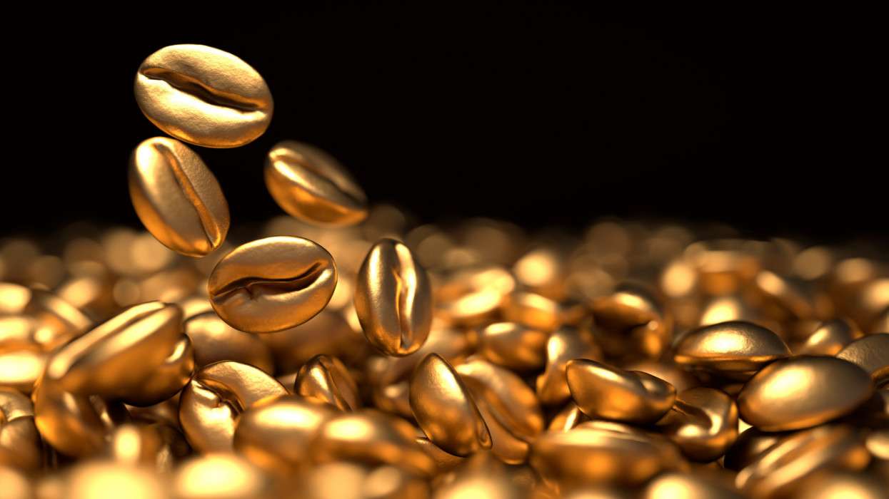 Golden coffee beans 3d rendering background. Top view. Masses of falling coffee beans close up.