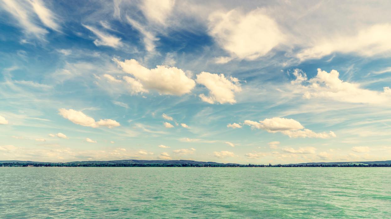 Balaton lake panorama with clouds, Hungary