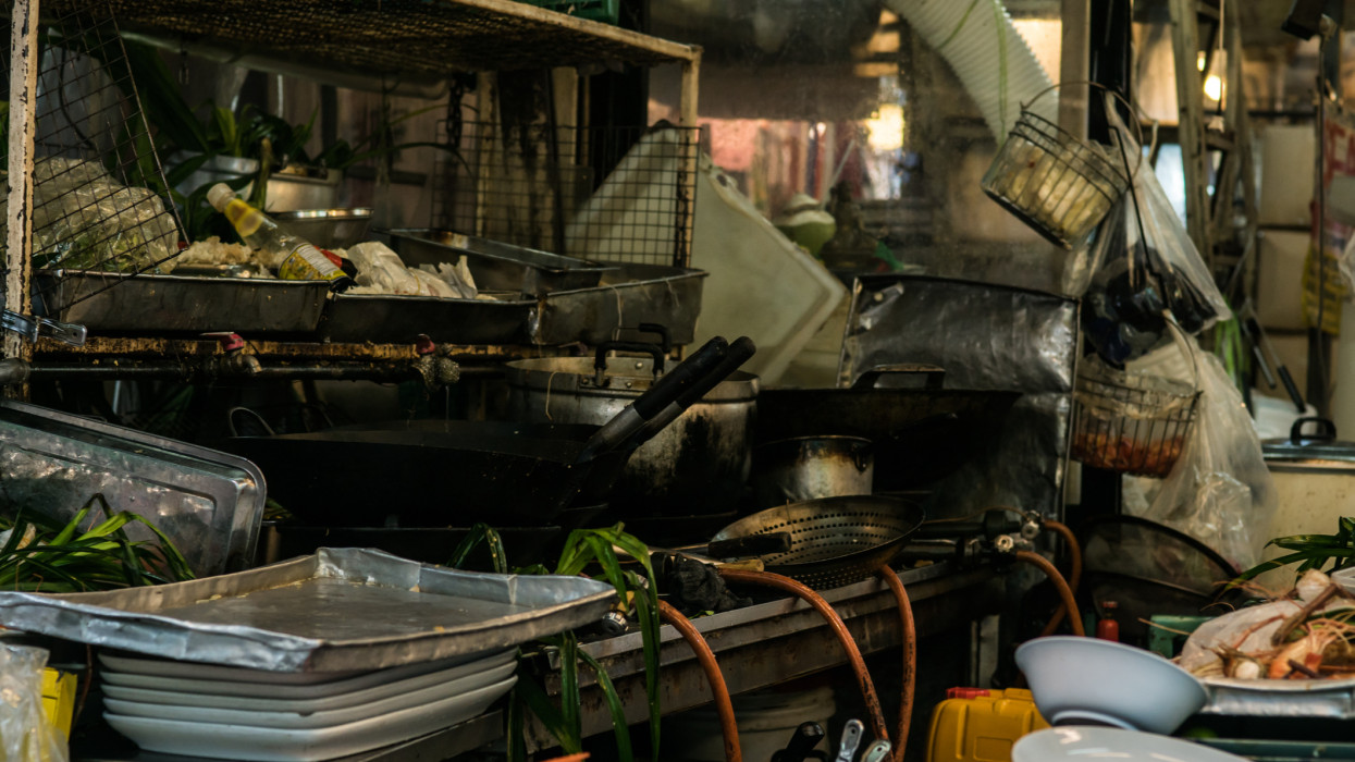 Dirty kitchen area. Inside the restaurants within the Chatuchak Weekend market.