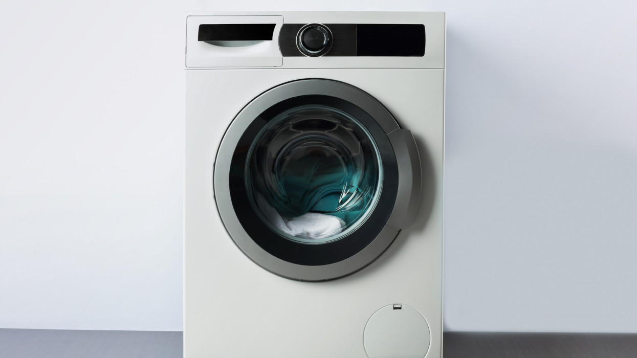 colorful clothes in a open washing machine