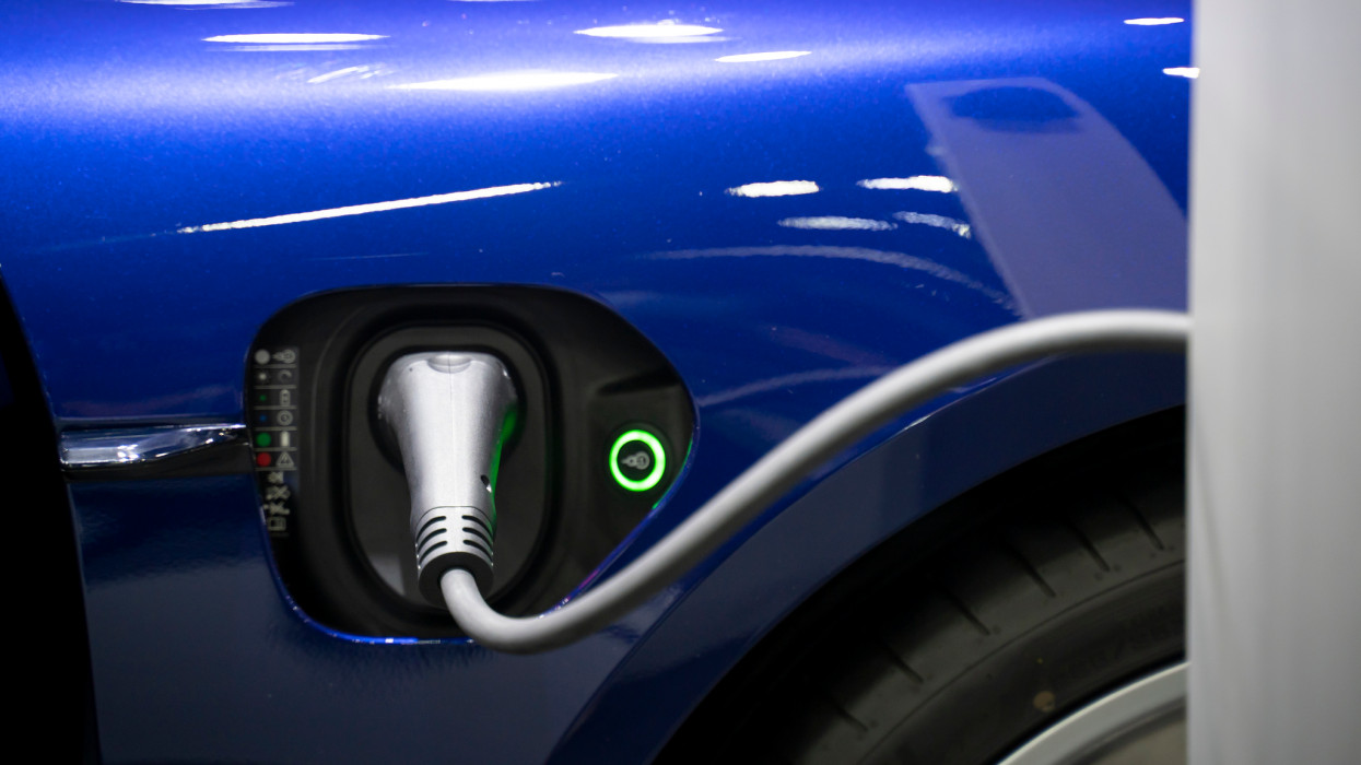 Electric car charging stations in the streets