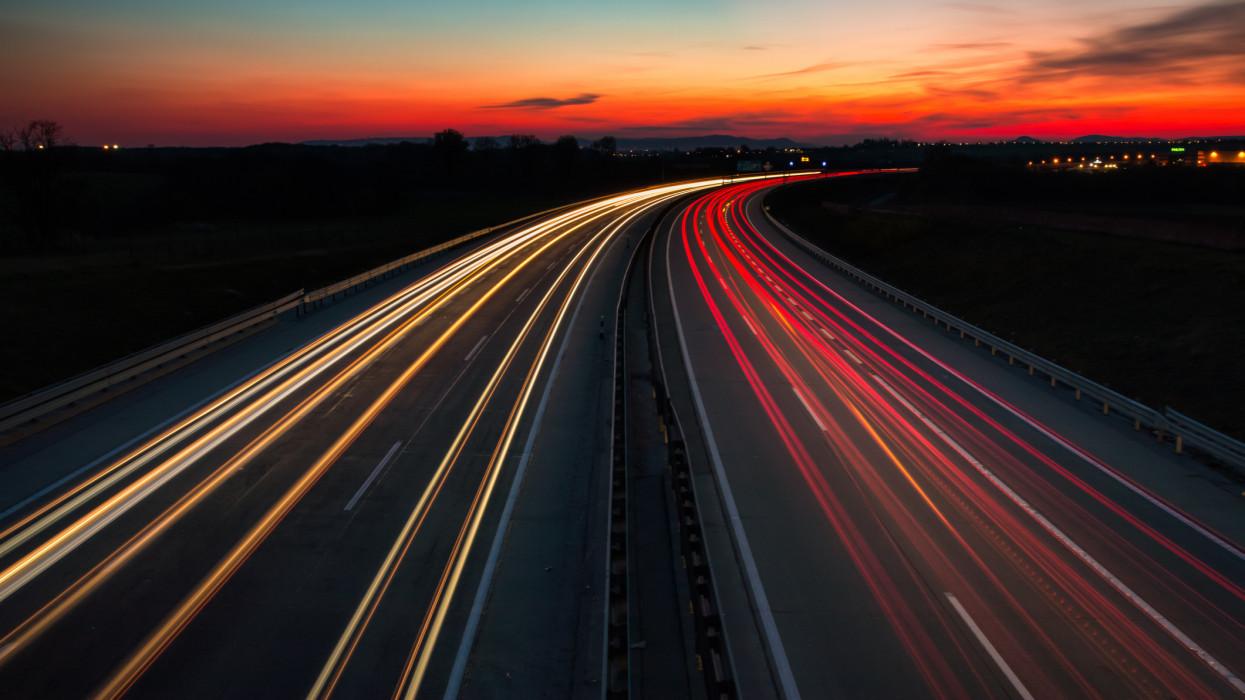 The M0 motorway, Budapest / Hungary at night