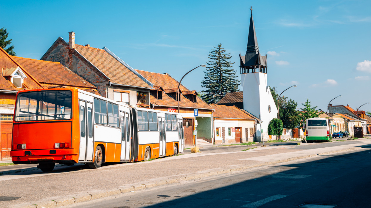 Esztergom old town bus terminal in Hungary