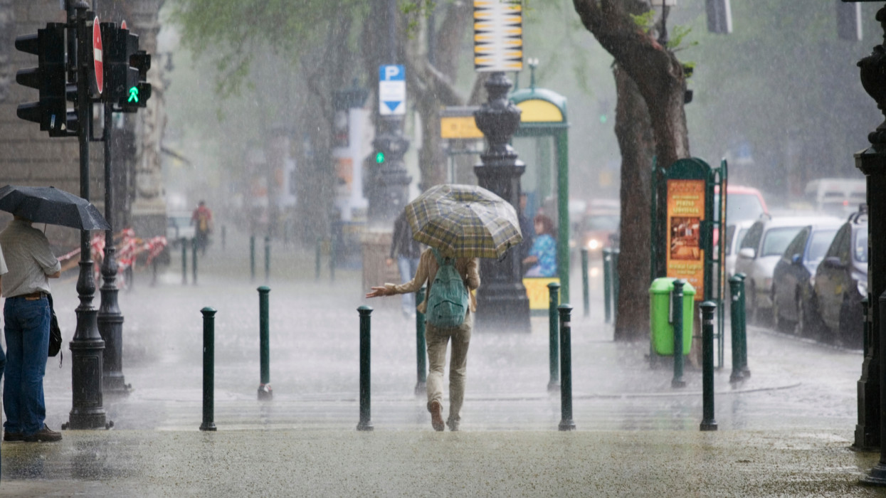 A rainstorm on Andrassy Street in Budapest, Hungary.