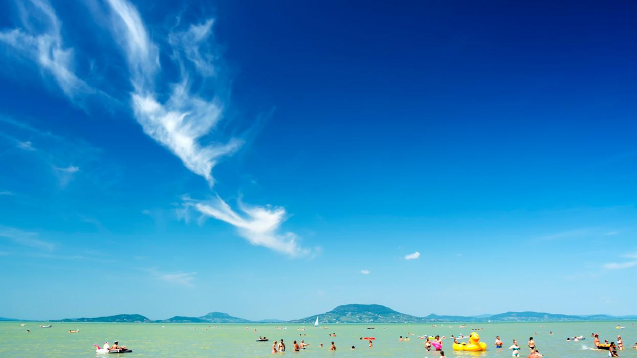Beach scene at Lake Balaton (Balatonfenyves) , Hungary