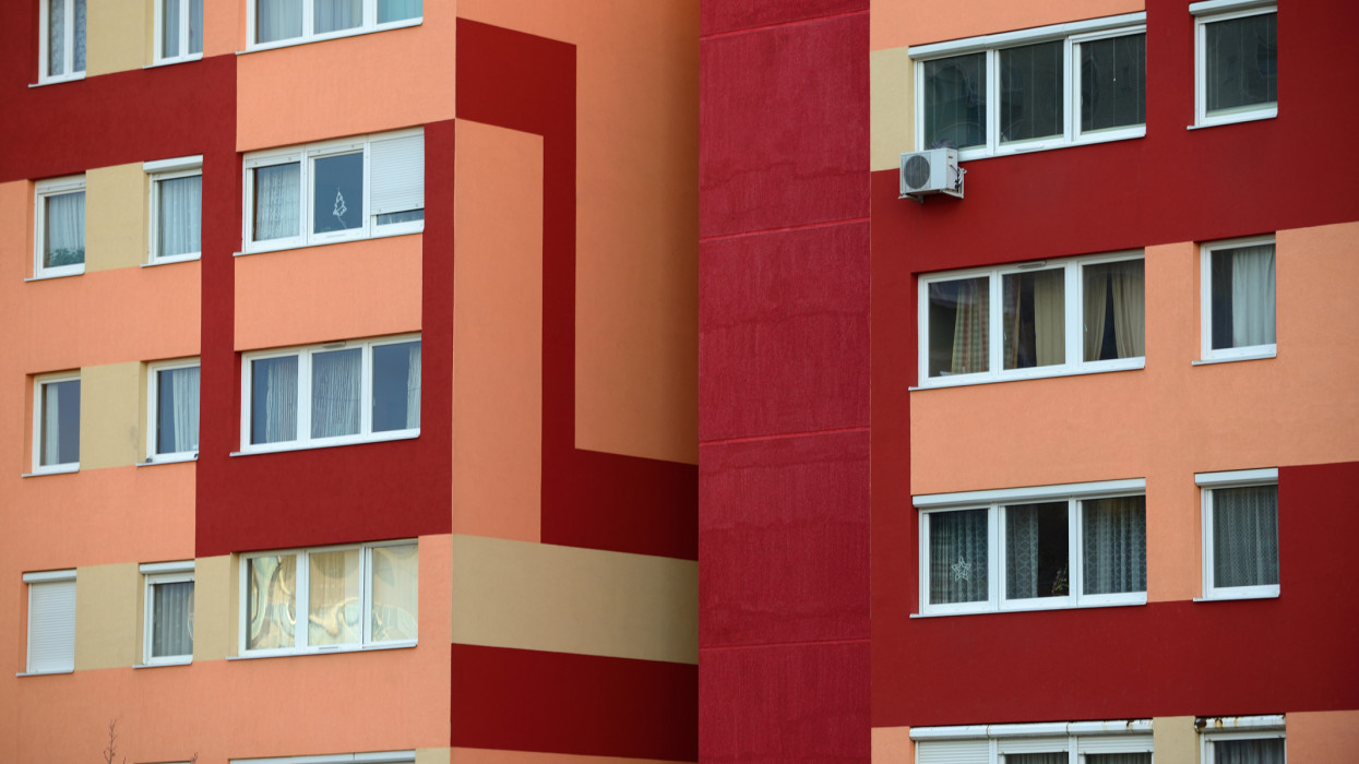 Detail of newly refurbished colorful block of flats.