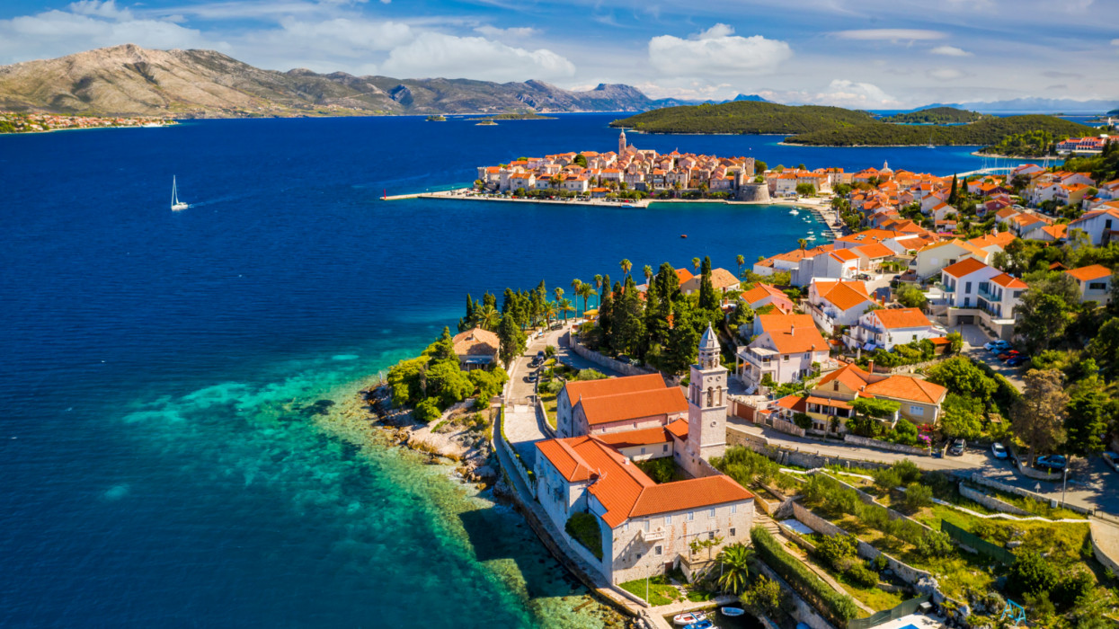 Aerial scenic view at Korcula town on Korcula island, Croatia. Korčula is a historic fortified town on the protected east coast of the island of Korčula, in Croatia, in the Adriatic