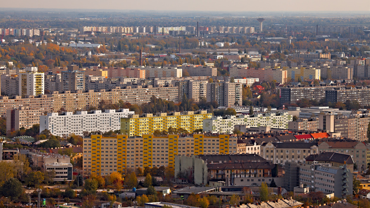 View over a suburban area with big blocks of flats