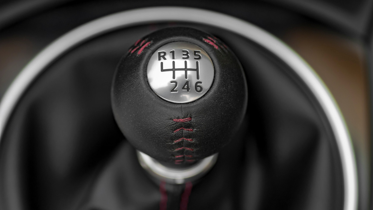 Close up shot of modern, luxury sports car manual gearbox lever