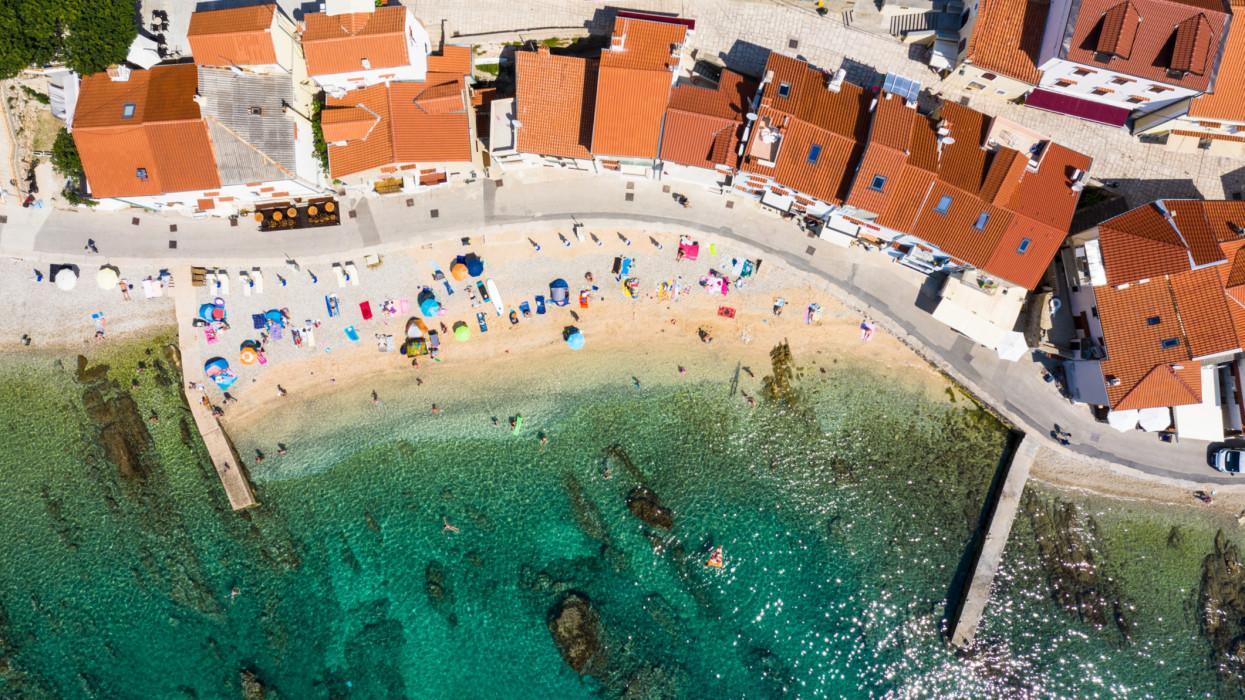 Top down view of the beach in the Baska village in the Krk island in Croatia.