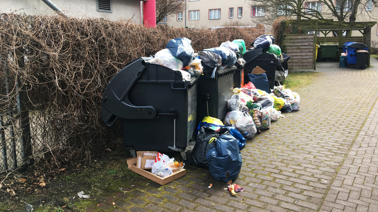 Overfilled dustbins (Berlin, Germany)