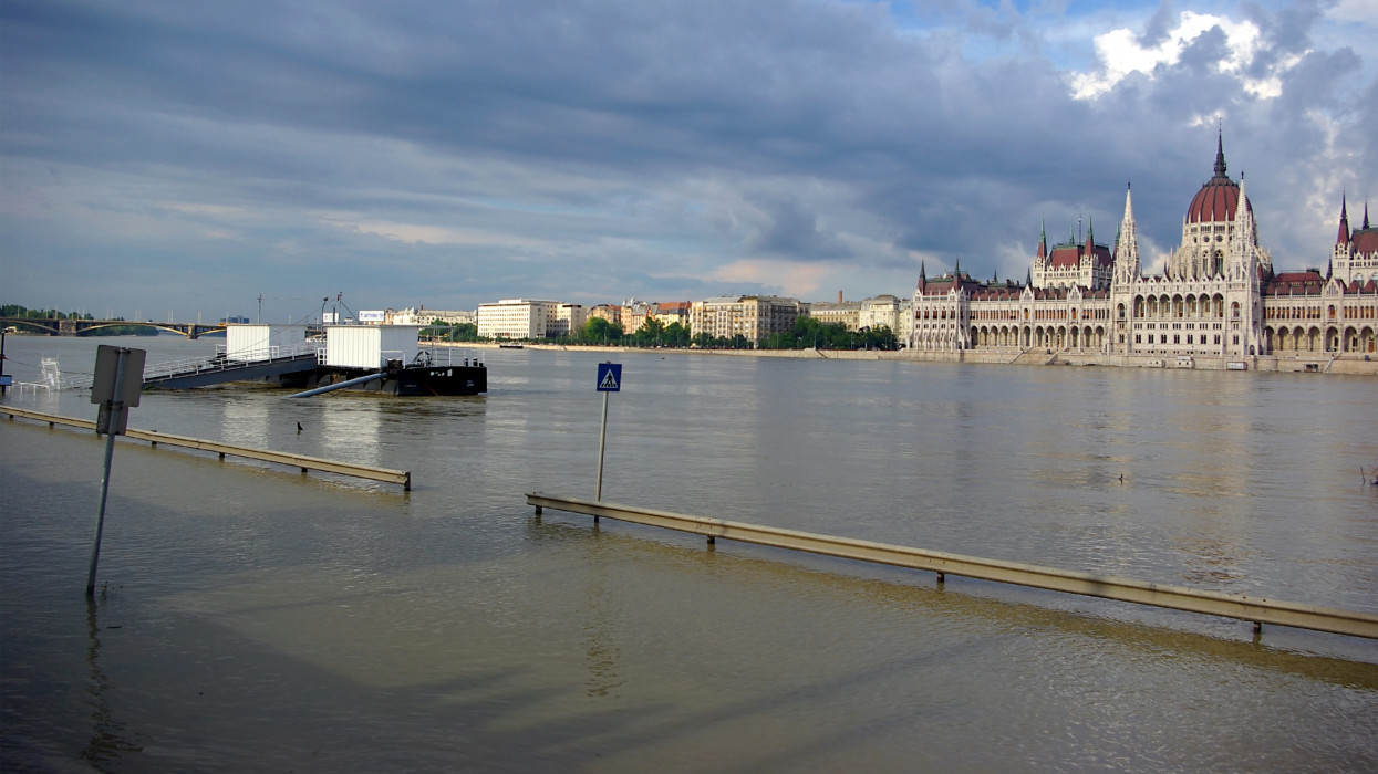Scene from Budapest at end of June from Batthyányi square to Hungarian Parliament and flooding Danube