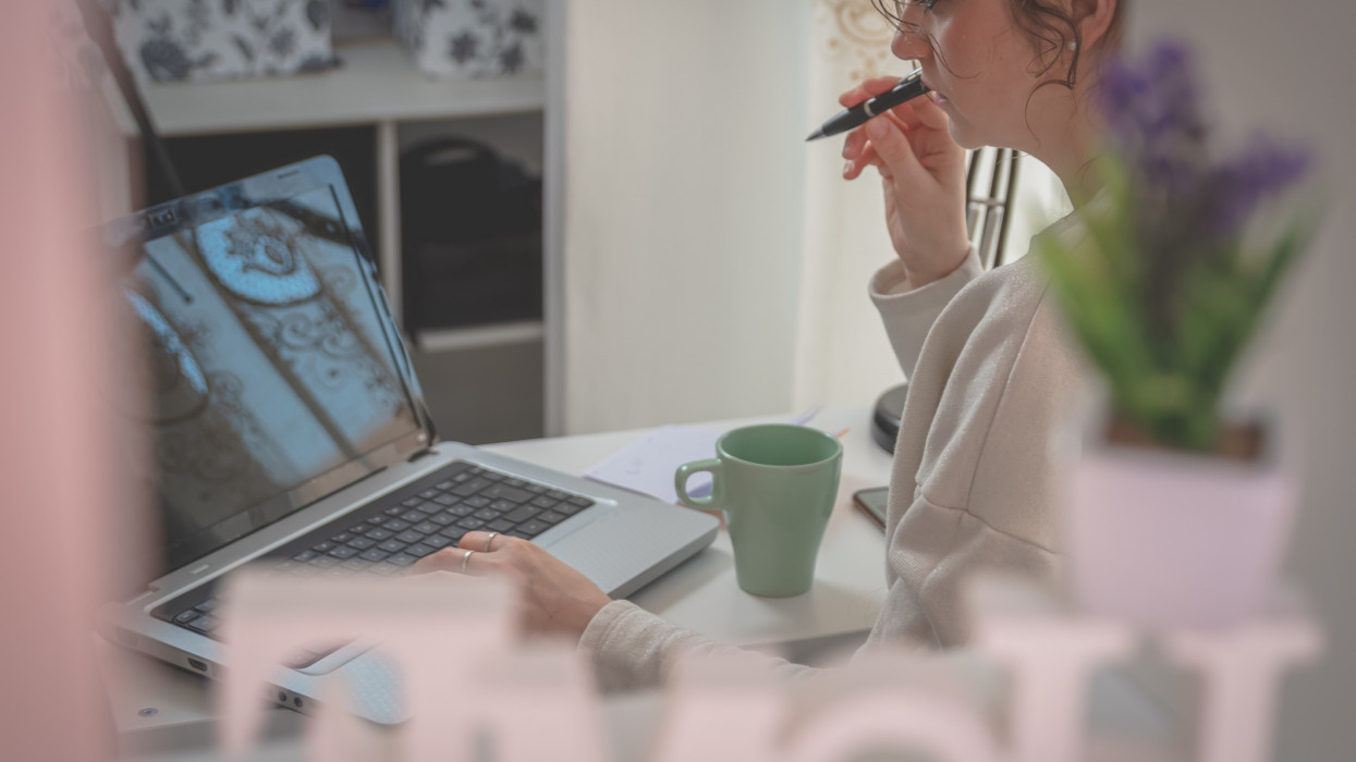 young woman is working from home during the covid-19 quarantine