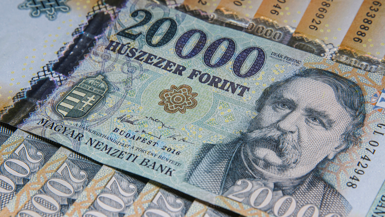 Stack of banknotes as background (Hungarian Forint) 20000 forint banknotes Ferenc Deak close up as a background. Europe Hungary. The all-seeing eye motif.
