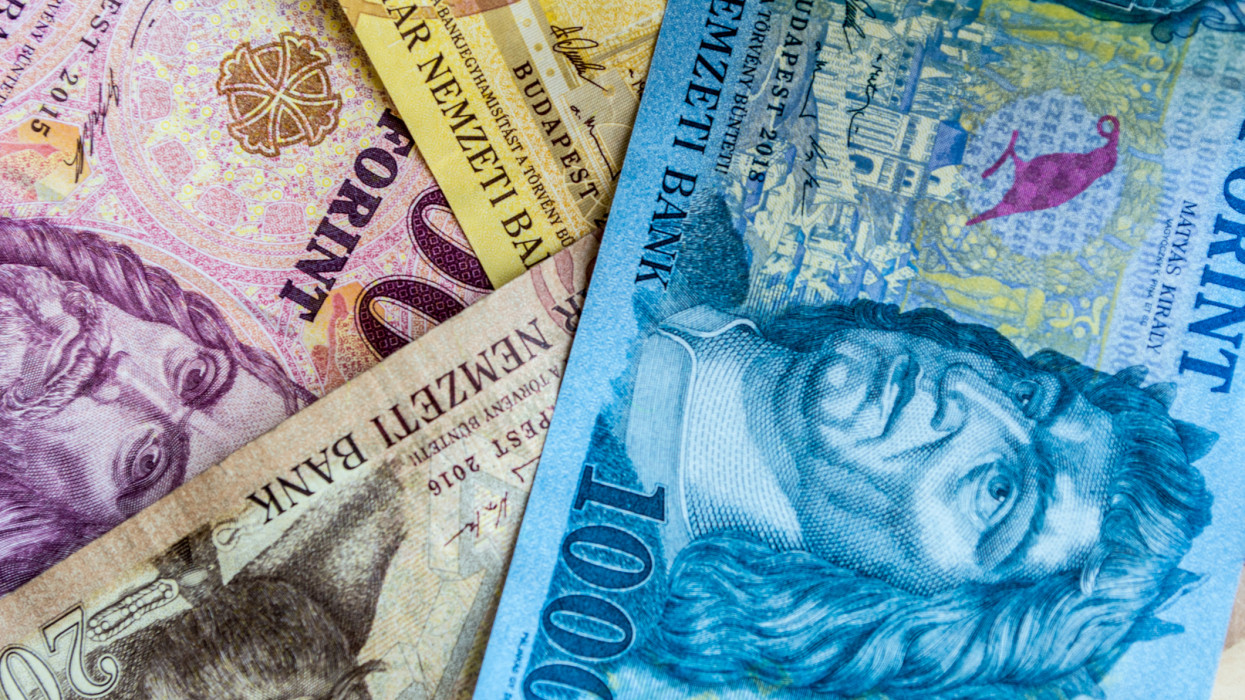 Different Hungarian Banknotes background. Europe Hungary Banking concept.