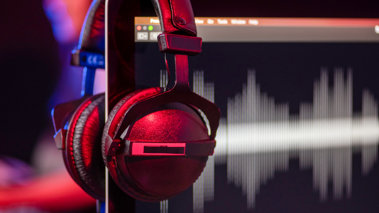 Headphones in a home-studio audio recording and producing.