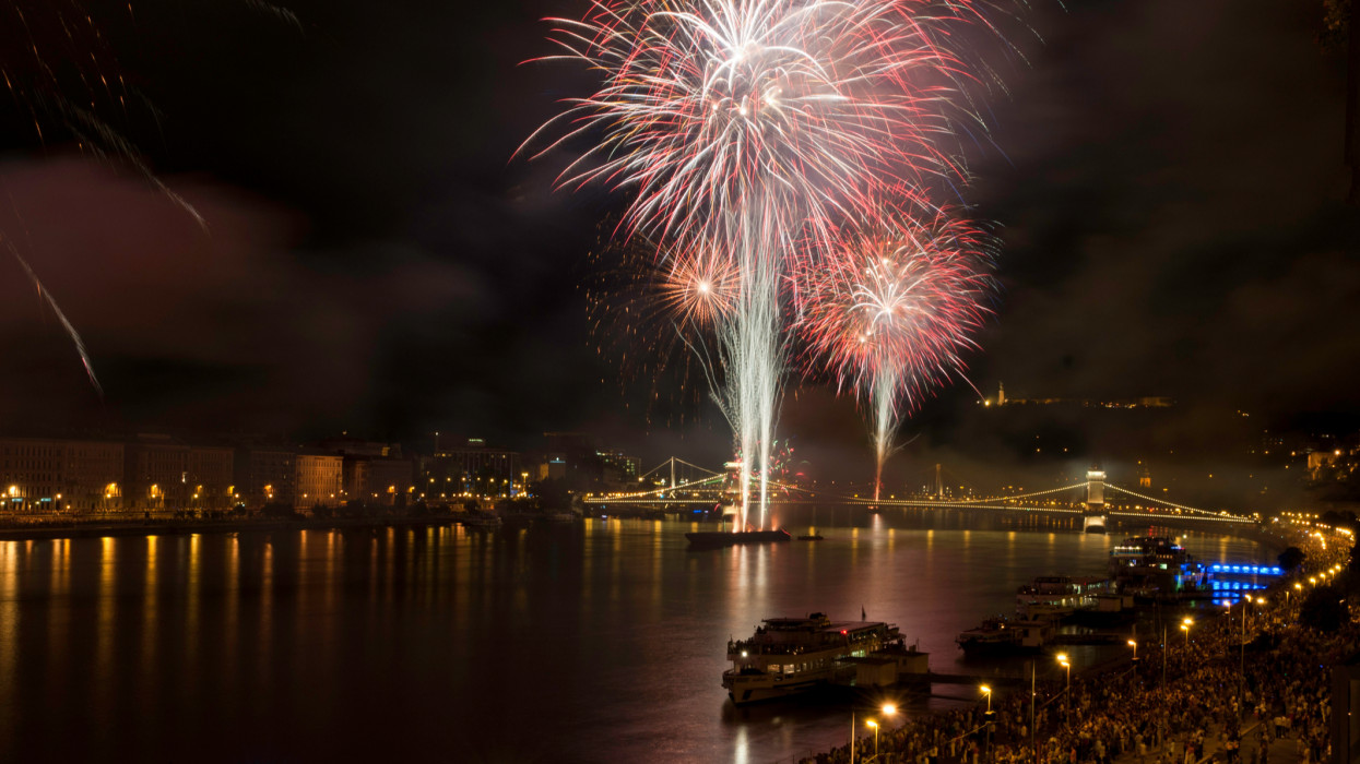 Celebrations and fireworks in Budapest on St. Stephens Day.