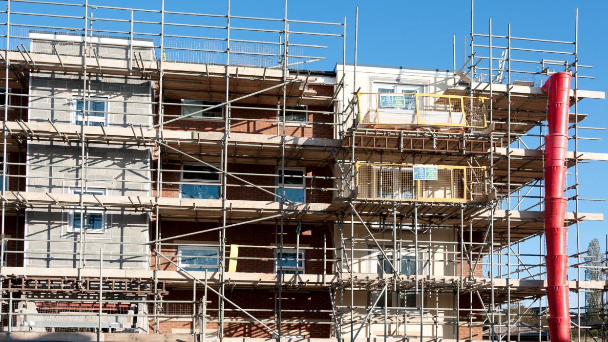 New highrise apartment buildings under construction - UK