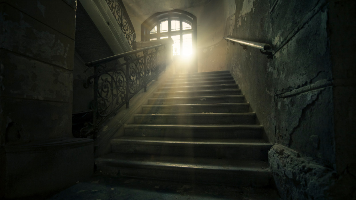 Stairway of abandoned castle in Slovenia