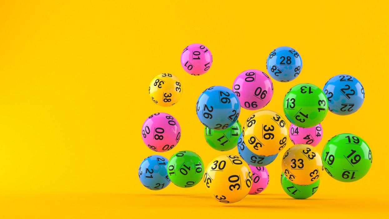 Lottery balls isolated on orange background