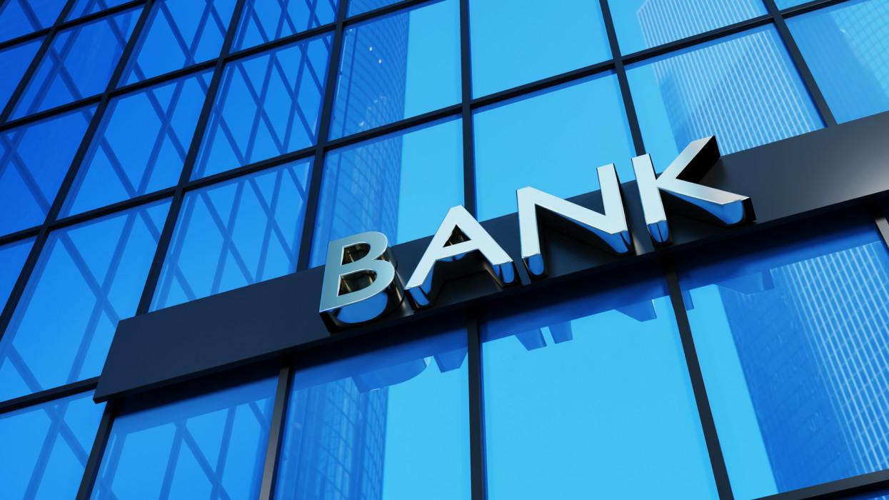 Bank sign on a modern glass building. 3D render illustration.