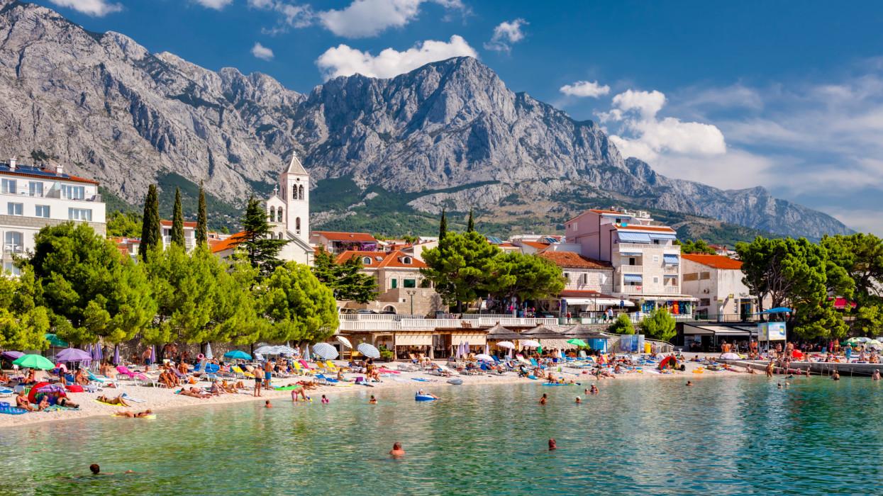 Baska Voda, a tourist town on the Makarska Riviera, Dalmatia, Croatia