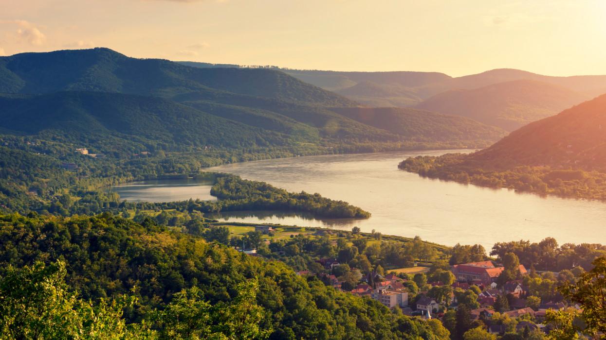 Danube River Bend (Dunakanyar) in Hungary at sunset.
