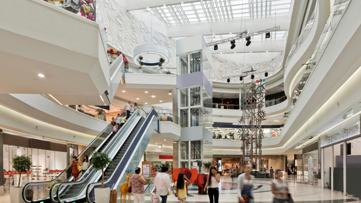 Inside the Mega Alma-Ata shopping mall;the period of discounts.