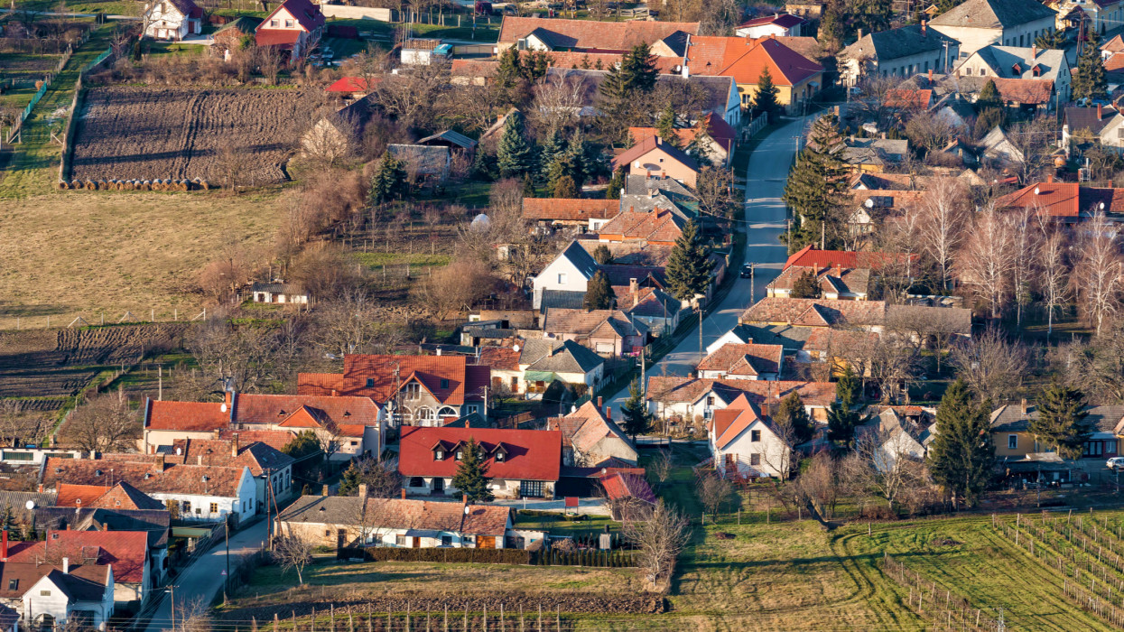 Plan  view over Hungarian village