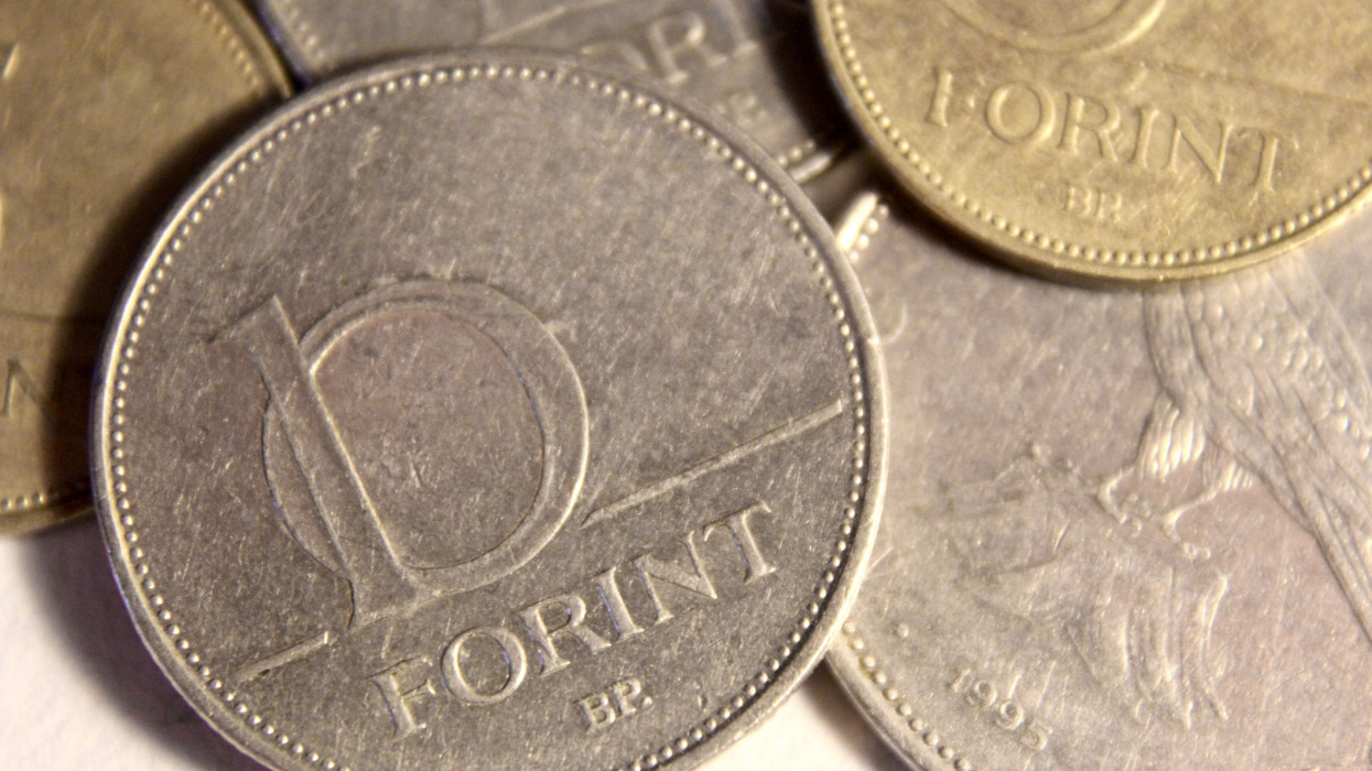 Close up of a Hungarian 10 Forint coin.