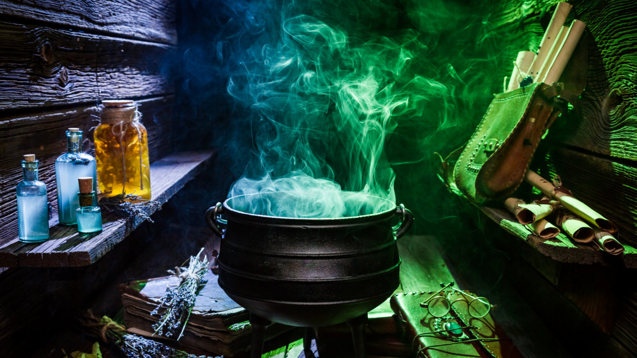 Witcher cauldron with color smoke for Halloween