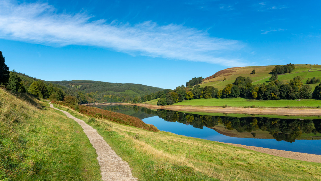 Footpath beside the still waters of the reservoir on a stunning September morning in this popular Peak District location.