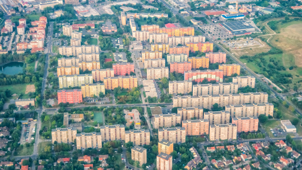 Residential district with apartment buildings in Budapest Hungary