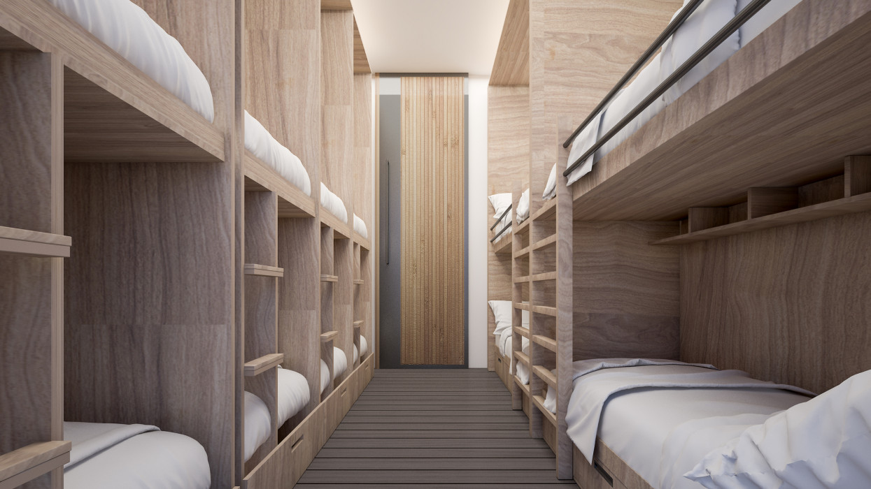 Dormitory room for twelve persons