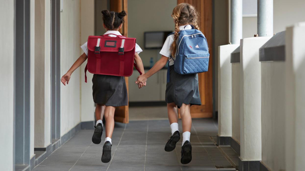 Children at modern school facility
