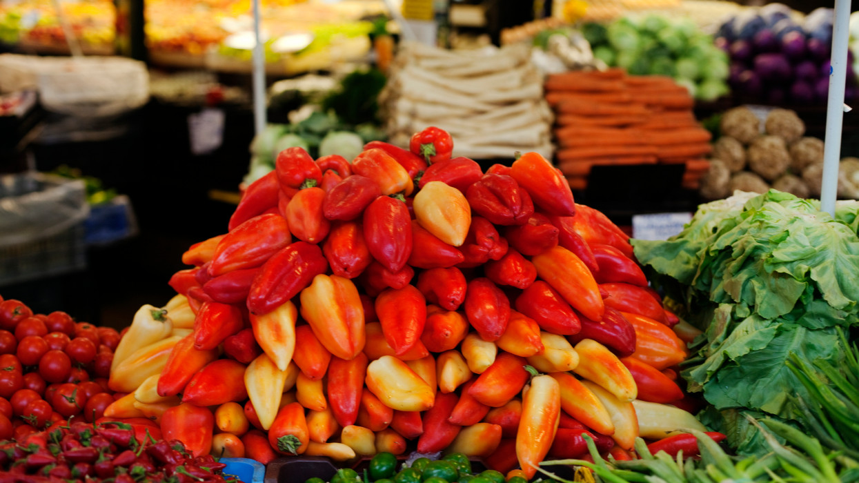 mix of different paprika at the market in Budapest